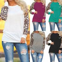 New Women Fashion Long Sleeve Leopard Print Loose T-Shirt Ladies Tops Blouse bSh