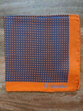 Brooks Brothers Orange Diamond & Dot Pocket Square Pure Silk New in Package