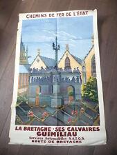 AFFICHE LITHOGRAPHIEE BRETAGNE 1950 CALVAIRES GUIMILIAU SIGNEE P. PETIT