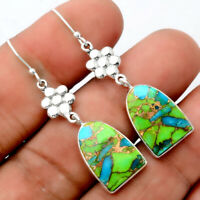 Blue Turquoise In Green Mohave 925 Sterling Silver Earrings Jewelry AE30247