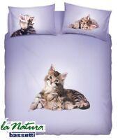 BASSETTI Natura. Completo Letto, Lenzuolo - copriletto LOVELY CATS. Matrimoniale