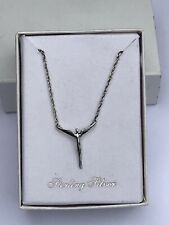 Sterling Silver Angel Necklace 925 Silver Angel Pendant With Wings Spread NIB