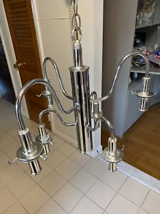6 Light Pendant, Vintage Chandelier Chrome Finish w/ Vintage Bulbs