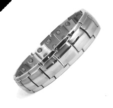 CHUNKY DOUBLE MAGNET STAINLESS STEEL MAGNETIC BRACELET-ARTHRITIS PAIN RELIEF+BOX