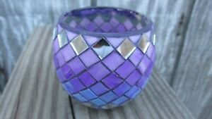 NEW FIMO Polymer Clay Covered Glass Globe Votive Candle Holder Purple Mosaic