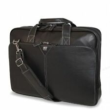 """MOBILE EDGE Deluxe Full Grain Leather 16"""" Laptop Briefcase Black Cases Bags NWT"""