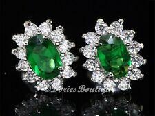 Beautiful Oval Emerald Green 925 Sterling Silver CZ Stud Earring .925 Jewelry