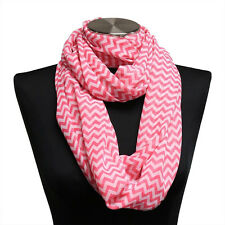 Pink Chevron Lightweight Infinity Wrap Scarf Circle Loop Scarves Cowl Hijab