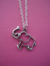 FUNKY SILVER ELEPHANT NECKLACE ANIMAL NELLY CIRCUS KITSCH CUTE RETRO EMO CARTOON