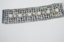 NEW BOUTIQUE FAUX PEARL RHINESTONE SILVER STUDDED MAGNETIC BRACELET VERY STYLISH