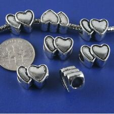 8pcs antiqued silver two sides heart spacer beads G1320