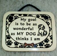 Dog Wall Plaque Handcrafted Pottery Stoneware Art Dog Lover Home Decor USA Made