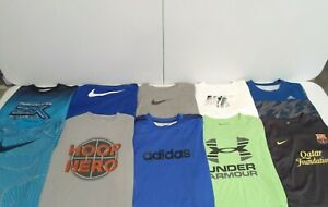 Lot of 10 Nike Under Armour Adidas Tek Gear Boy's Shirt Size XL T-Shirt Kids Top