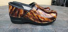 Dansko Professional Patent Leather Clogs Slip On Brown Alligator Snakeskin Sz 40