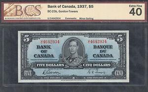 1937 $5.00 BC-23b BCS EF-40 HIGH Grade BEAUTY King George VI Canada Five Dollars
