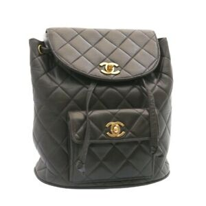 CHANEL Matelasse Backpack Leather Black Gold Tone CC Auth ar4662