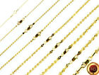 -14k Gold over 925 SOLID Sterling Silver Diamond-Cut ROPE Chain Necklace