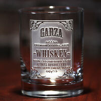 Personalized whiskey label, scotch, bourbon glasses Set of 4 (wskylabel)