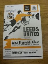 10/02/1970 Leeds United v West Bromwich Albion  (Tiny Piece Missing To corner, H