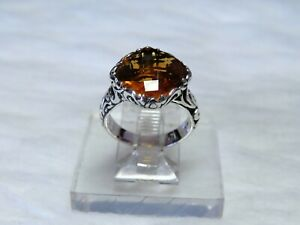 sterling silver Ring w/ square Briolette cut Citrine