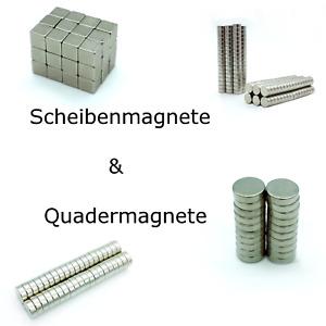 Neodym Magnete super stark Quader Würfel Scheibenmagnet rund N45 vernickelt