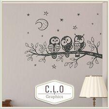 Owls In Tree Vinyl Wall Sticker Kids Transfer Nursery Decor Art Cute Decal Child
