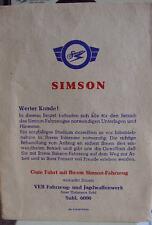 Orig Simson Tüte für Papiere S51 SR50 KR51 Star Enduro
