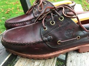 Mens Timberland Brown Leather Lugged Sole Boat Casual Shoes UK Size 8.5 VGC 42.5