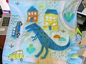 "New! POTTERY BARN KIDS Dinosaur quilted Sham pillow EURO 26"" Size Cotton"