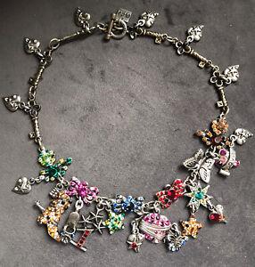 Otazu Multicolour Stones Charm Necklace Costume Jewellery Dark Silver Metal