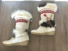 Tecnica Women's Goat Fur Apres Ski Winter Boots Italy White Red Brown Size 8.5
