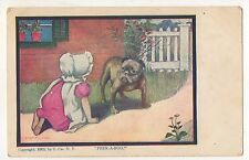 Peek A Boo! Girl with Boxer Dog Vintage Puppy Postcard