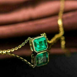 """14k Yellow Gold Over 2.00 Ct Emerald Cut Green Emerald Solitaire Pendant W/18"""""""
