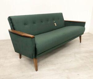 DANISH VINTAGE MODEL 55 VELVET MID CENTURY 50S 3 SEAT LOUNGE SOFA BOTTLE GREEN