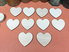 WOODEN HEARTS Shapes 5cm (x10) laser cut wood cutouts crafts blank shape