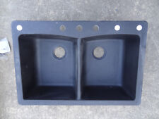 291 655 Dual Mount Composite Granite 33 in. 3-Hole Double Basin Kitchen Sink in