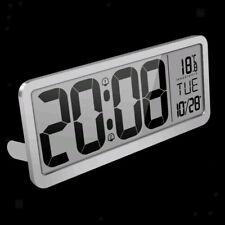 Digital Wall Clock 14'' Large Number Clock w/ Date Temperature Display -Silver