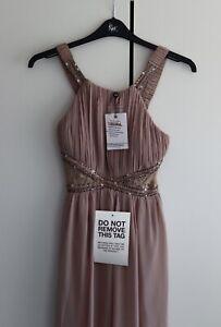little mistress Lace Insert Bridesmaid Maxi Mink dress Size 12 RRP £70