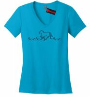 Horse Heartbeat Horse Ladies V-Neck T Shirt Equine Horse Lover Graphic Tee Z5
