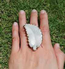 Sale: 24K Gold-Dipped Brass Ring with Large Jade Leaf (Adjustable)