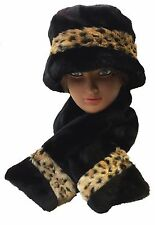 Ladies Women Faux Fur Russian Cossack Style Hat and Scarf 2 PCS Gift Set Hat