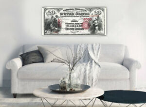 """Large Poster $500 National Currency, Butte 16""""x 40"""" Printed on Canvas"""