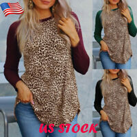 Plus Size Women's Leopard Print Tops Blouse Lady Casual Long Sleeve Tee Shirt US