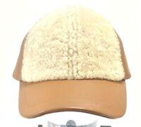 Ugg Australia Curly Pile Leather Sheepskin Women's Baseball Cap Chestnut Hat