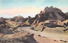 Badlands National Monument postcard Foot of Cedar Pass Vampire Peak Handcolored