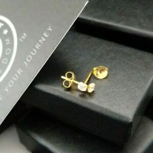 Ladies 9ct Gold Plated 925 Sterling Silver Cubic Zirconia Small CZ Stud Earrings