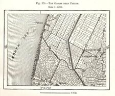 The Groins near Petten. Netherlands. Sketch map 1885 old antique chart
