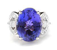 13.20 Carats NATURAL TANZANITE and DIAMOND 14K Solid White Gold Ring