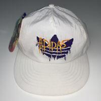 NEW Vintage 80's ADIDAS Snapback Hat Trefoil Drip White Graffiti Logo RARE