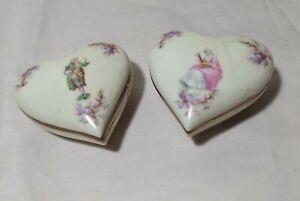 England handpainted porcelain pair of Jewellery trinket Boxes beautiful
